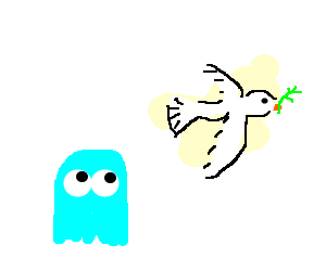 blue pacman ghost looks at flying dove