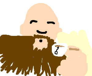 Man with giant beard and hands drinks tea