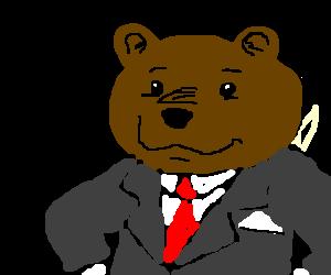 Male bear named P_ _ _ _ has nice attire