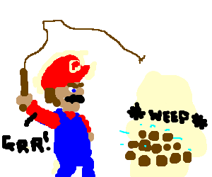 Angry Mario whips sad potatos