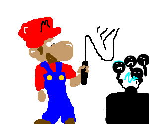 Mario whips people who watch too much tv.