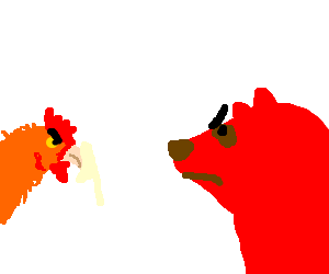 Red bear and chicken give each other deathglares