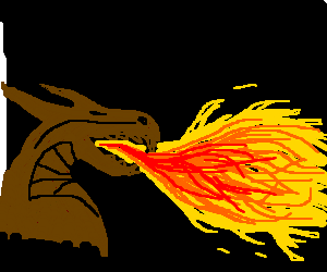 Chocolate dragon breathes fire