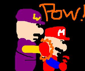 Wario beating up Mario