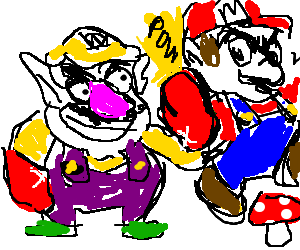 Wario boxes Mario in the ear