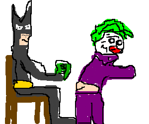 Batman paying the Joker for a lapdance