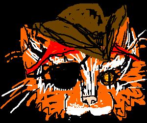 Badass, pirate cat has milk moustache
