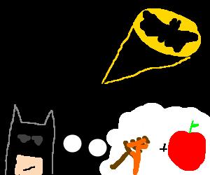 Bat signal; batman contemplates honey apples