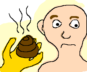 yellow man tries to give pink man some poo