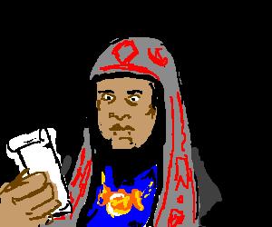"""The Snake King checks his """"To-Do"""" list"""