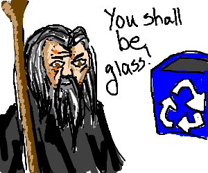 Wizard demands that glass bottles are recycled