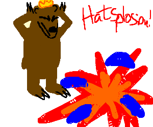 King of the bears explodes a hat with his mind