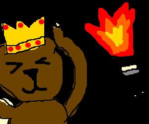Bear king blocks ears from sound of Hatsplosion.