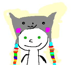 guy with green eyes wearing a nyan hat