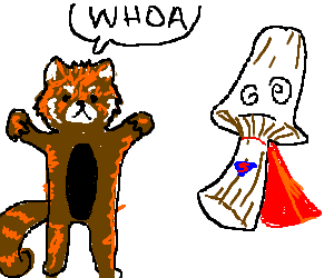 "Red panda exclaims ""Whoa"" at Super Mushroom"