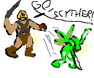 He-man sends out a Scyther!