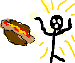 Stickman is Suprised By HotDog