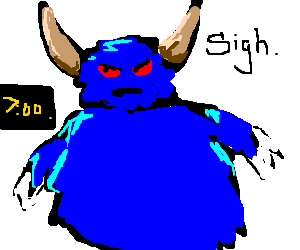 Big blue furry horned monster looks at alarm.
