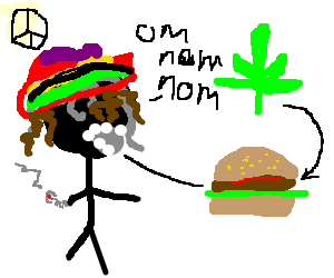 Rasta stickman eats Cannaburger.