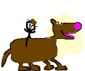 Pink nosed huge dog with stick man rider