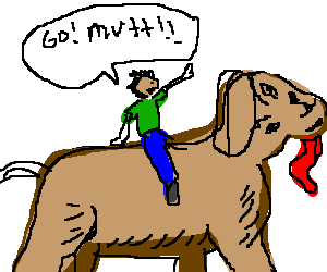 Man riding giant dog with deformed face