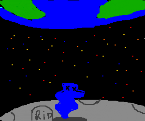 blue ghost leaving grave on the moon