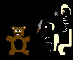 Ninjas attacking a teddy bear