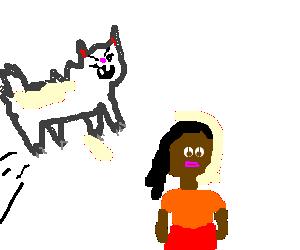 Rabid black cat pounces on black lady in skirt