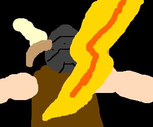 The brave hero gets struck down by lightning.