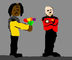 Klingon gives flowers to bald man but is spurned