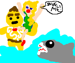 Goron saves blonde girl from shark attack