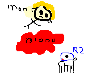 Pool of blood separates man and R2-D2