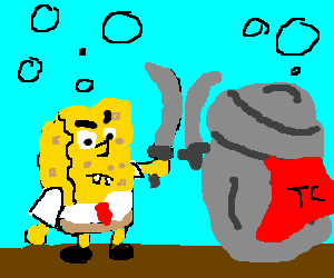 Spongebob vs caped trash can