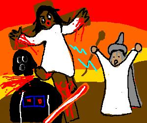 Gandalf helps Jesus kill Darth Vader.