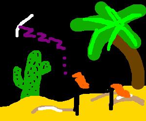 Horse dream in the desert.