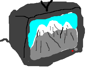 A televised view of snowcapped peaks.