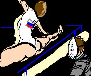 Russian training of Gymnastic next to Jason