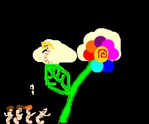 Lady gaga worm on an acidic flower