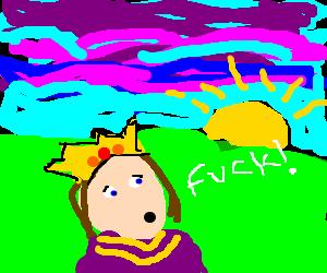 King curses at sunset