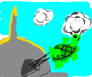 Turtle flies from a dome in sky of weird clouds