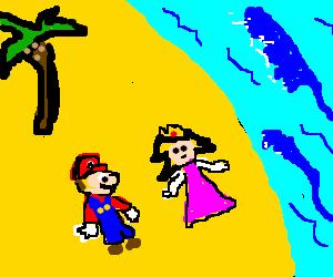 Mario and Peach, lost on a desert island.