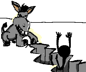 Donkey performs ground smash on someone.