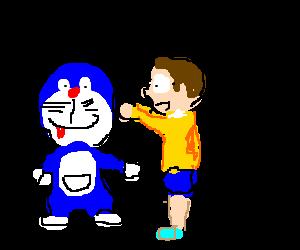 Doraemon touching Nobita's Tra-la-lah.