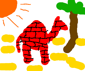 Brick camel in the desert