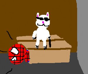 homeless spiderman scared of the blind cat