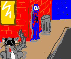 cat wears sunglasses as spiderman hides