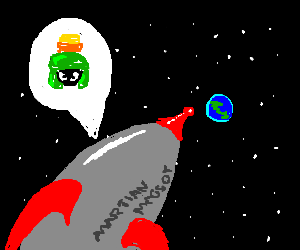 Marvin the Martian returning to Earth on rocket
