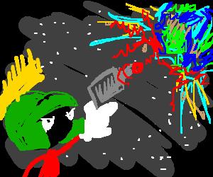 Marvin the Martian destroys Earth