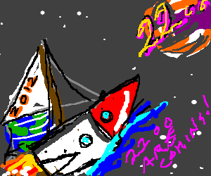 Rocket ship flies to the year 2200!
