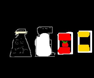 Salt,Pepper,Ketchup & Mustard telling lame jokes